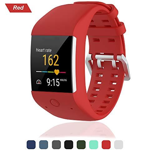Bracelet pour Polar M600 Smartwatch, Bande de Remplacement en Silicone Poignet Sangle de Sports Watch Accessoires pour Polar M600 Montre Intelligente, rouge
