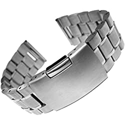 24mm Solid Stainless Steel Watch bracelet Band Silver