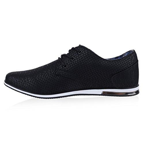 Modische Herren Schuhe | Business Schnürer | Halbschuhe Sneakers | Prints Lederoptik Freizeitschuhe Schwarz