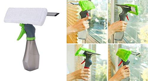 takestop® Eingebaute Abzieher mit Sprühflasche und Mikrofasertuch waschbar Schwamm reinigen Glas Fenster Balkon PULIVETRO Farbe zufällig