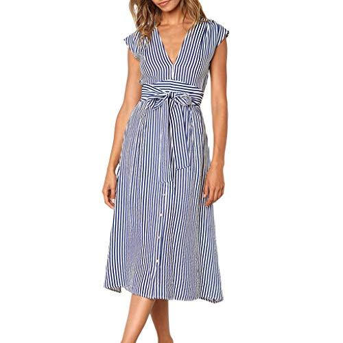 Linkay Kleid Damen KurzStripe-Taste Rock SommerRückenfreie Abendparty Kleider Mode 2019 (Blau, X-Large) -
