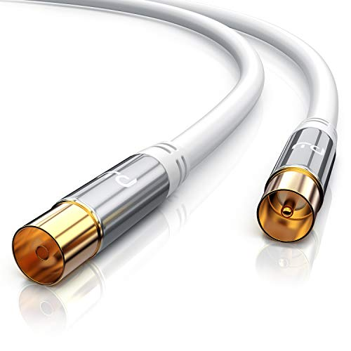 CSL - 10m Antennenkabel HDTV 135dB 75 Ohm | Premium Koaxialkabel | FullHD 4k UHD | Koax Stecker > Koax Kupplung | DVB-T und DVB-T2 DVB-C DVB-S DVB-S2 DAB DAB+ | Abschirmmaß 135dB Tv Antenne Kabel