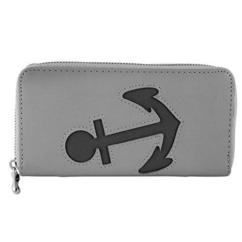 Damen Reißverschluss Geldbörse Portemonnaie Geldbeutel Portmonee Anker Marine, Farbe:Grau