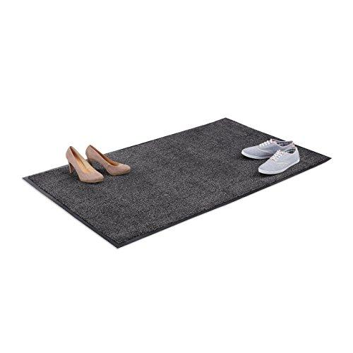 Relaxdays Schmutzfangmatte grau, Fußmatte Innen, Schmutzmatte groß, Fußabtreter dünn, Türmatte 90x150 cm, schwarz-grau