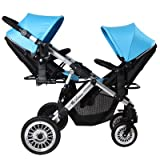 Kinderwagen Zwillings-Kinderwagen High View Faltbare Anti-Schock Elastic Convenience Bidirektionale Bassinet und Seat Travel System Kinderwagen , blue