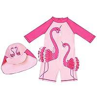 Swimsuit for Girls Flamingo Design Long Sleeve with Cap (UPF 50+) blocks 99% of UV Radiation (100)