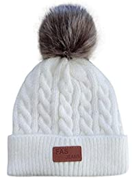 VENMO Niños Niñas Invierno Gorro de Algodón Carta de Punto Pelota Cálidos Dobladillo Sombreros (blanco)