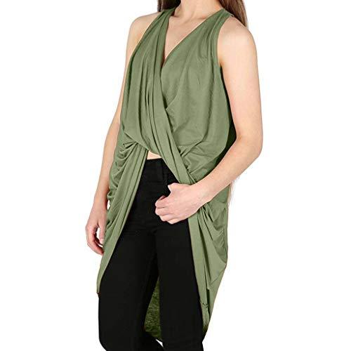 Zegeey Damen T-Shirt Sommerkleid äRmellos V-Ausschnitt Einfarbig Wrap Cross Fold Twisted Dress ()