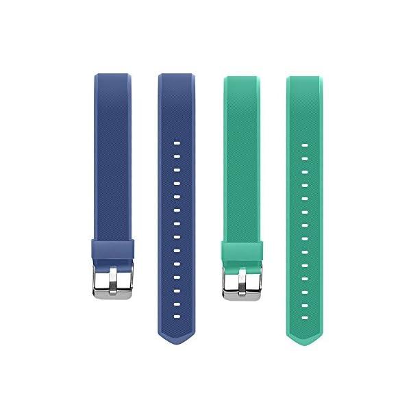 Aitoo® ID115 Plus Correas de Repuesto de TPU para Reloj de Pulsera de Fitness ID115 Plus HR, 5 Colores, Negro/Azul/Morado/Verde/Rosa 8