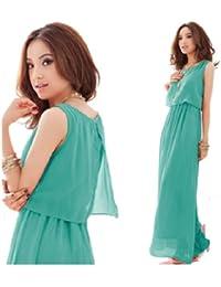 GZ Kleid 01 Longshirt Tunika Pullover Sommerkleid Rüschen Punkt Chiffon Shirt Bandeau Mini Kleid Abendkleid Maxikleid(Gr.36, grün)