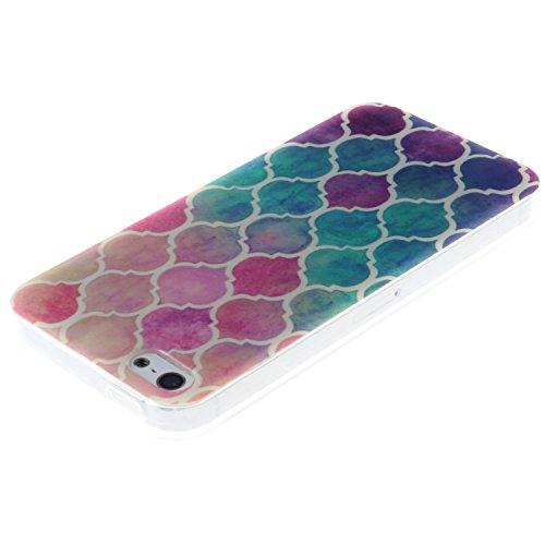 iPhone SE Coque, MOONCASE iPhone 5S Cover Case Fit Soft Silicone Housse avec Coque de Protection en TPU Etui pour iPhone SE / 5S / 5 - DD10 Série Colore - DD08
