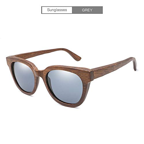 JIA-Sunglass Mode Handgemachte Bambus New Classic Vintage Retro Holz Sonnenbrille Alle Bambus Farbe Spiegel Film Polarisierte Sonnenbrille for Männer Frauen Unisex (Color : Gray)
