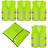 Prowiste Set of 4 Reflective Safety Vests, Neon Yellow, Wrinkle-Free Washable, 360 Degree Reflective Safety Vest, Car EN471
