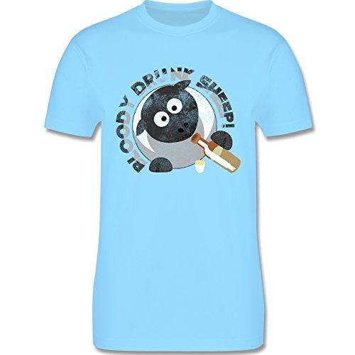lustige Sprüche - Bloody Drunk Sheep - L190 Herren Premium Rundhals T-Shirt Hellblau