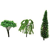 Mini paisajes paisaje arquitectura árboles modelo árboles miniatura hada jardín árbol planta bricolaje artesanal jardín ornamento árbol de simulación 3Pcs (árbol de punto blanco + árbol puntiagudo + sauce)