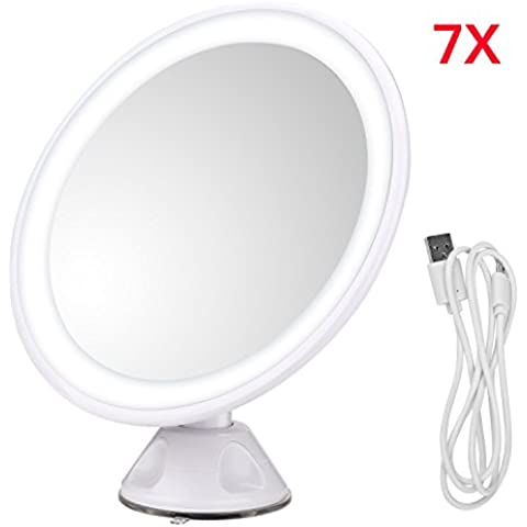 JOJOO 7x lupa iluminado maquillaje espejo USB Batería Espejo 360 ° giratorio con potente con ventosa para baño, maquillaje, viajar BP003