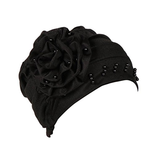URSING Damen Kopftuch Muslim Ruffled Cancer Chemo Mütze Schal Turban Wrap Cap Stylish Elegan Blumen Indien Hut Multifunktionstuch Kopfbedeckung für Chemo, Krebs, Make up (Schwarz)