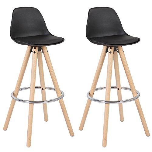 WOLTU® BH45sz-2 2 x Barhocker 2er Set Barstuhl aus Kunststoff Holzgestell mit Lehne + Fußstütze Design Stuhl Küchenstuhl optimal Komfort Schwarz - Bar Hocker Schwarz-hocker