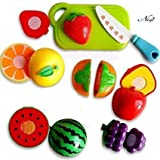 Negi Realistic Sliceable Fruits Cutting Play Toy Set, Can Be Cut in 2 Parts