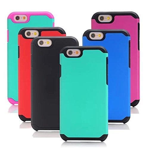 iPhone 6S Case,iPhone 6 cas, Lantier cool Série [Slim mince Armure] Dual Layer hybride de protection antichoc Case pour Apple iPhone 6 / 6S 4.7 pouces noir-pourpre Hot Pink-Mint Green