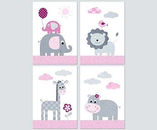 Kinderzimmer Babyzimmer Deko Mädchen Junge - Poster Set 4x DIN A4 - Bilder Kinder Baby (Set04)