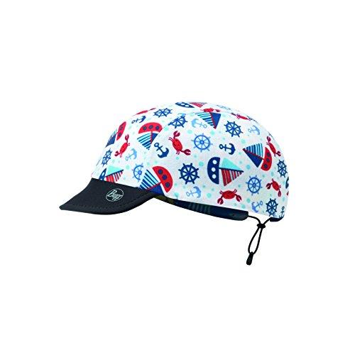 Reversible BUFF CAP avec Visiere et 98% UV Protection pour Bebes et Petits Enfants e 3 ans Ocean, bleu/blanc, taille 0-2, Polyester