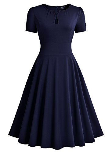Miusol Damen Abendkleid kurzarm elegant Vintage Rockabilly Kleid Sommer Cocktailkleid Blau Gr.M -