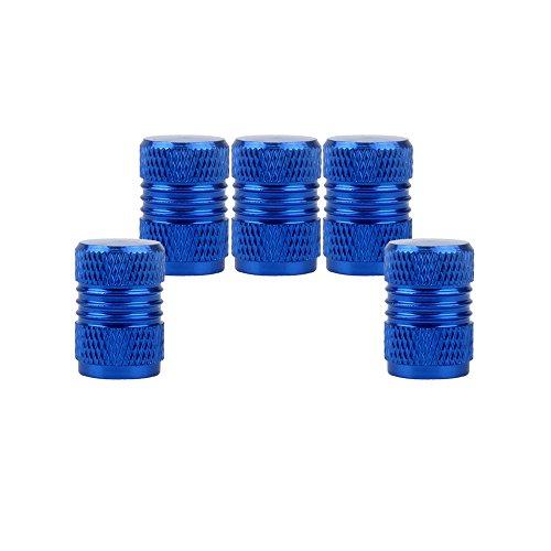 SENZEAL 5x Auto Reifen Ventilkappen Aluminiumlegierung Universal Rad Staubschutzkappen für Auto Blau
