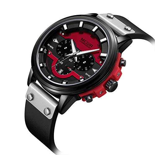 TIZIKJ Herren Business Uhren Chronograph Wasserdicht Sport Analog Quarzuhr Herrenmode Leder Armbanduhr,Red (Seiko Solar Taucheruhr)