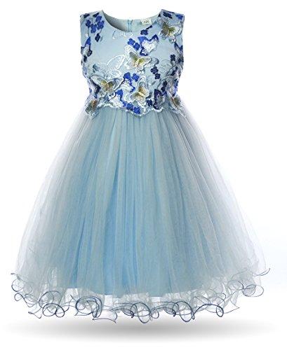 CIELARKO Mädchen Kleid Schmetterling Prinzessin Hochzeit Festkleid Kleider Ärmellos (6-7 Jahre, Blau)