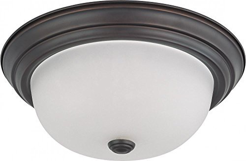 Nuvo Lighting 60/3336 Two Light Interior Home Package Flush Dome with Frosted Glass, Mahogany Bronze, 13-Inch by Nuvo Lighting