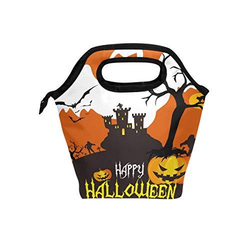 hunihuni Oktober 31 Halloween Ghost Isolierte Thermo-Lunch-Kühltasche Tote Bento Box Handtasche Lunchbox mit Reißverschluss für Schule, Büro, Picknick