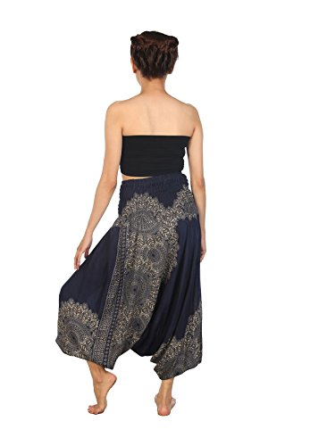 Lofbaz Donna Tuta Harem Boemo Harem pantalon Hippie Yoga estate Pantaloni Peacock Blu Scuro