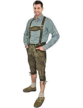 Kniebund Lederhose Prien mit Stegträger olive/ecrue - Kniebundlederhose für Herren - Marken Lederhose von Lekra
