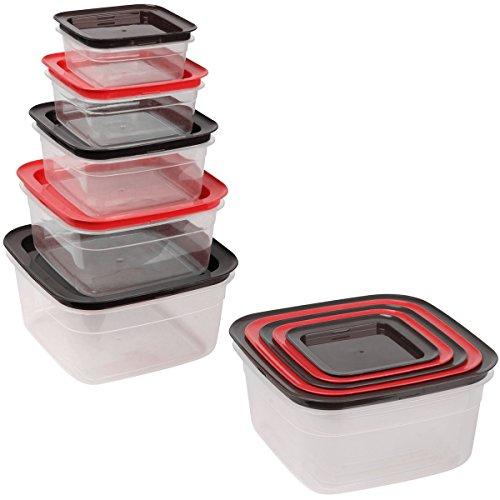 Promobo - Ensemble Lot 5 Boîtes De Conservation Alimentaires Hermétiques Rangement Malin Encastrable Carrée Rouge