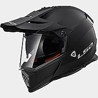 LS2 MX436 Adventure Pioneer Casco de Motocross Bicicleta Motocicleta ATV Sólido Negro Mate XXS(51