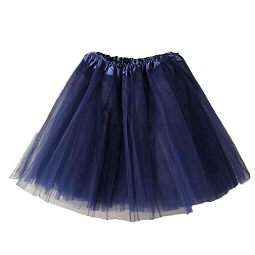 HUIHUI Damen Tütü Rock Minirock Organza Pettiskirt 3 Layers Petticoat Tanzkleid dehnbaren informell Mini Skater Rock Ballettrock mit Sternchen Perfekt für Fasching (Marineblau)