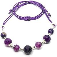 Collana girocollo in argento e agata viola venata
