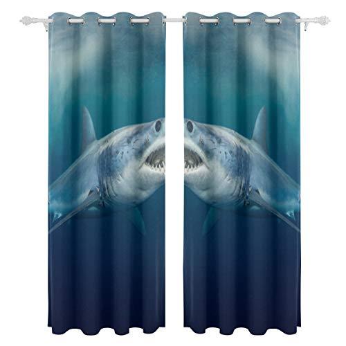 Fierce Awful Shark Einseitiger Druck Verdunkelungsvorhänge Vorhänge Fensterbehandlung Duschvorhang Panels Für Schlafzimmer Wohnzimmer Küche Bad 55 X 78 Zoll 2 Stücke
