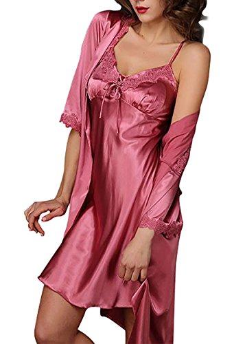 Aivtalk Ensemble de 2Pcs Luxe Peignoir Satin Robe de Chambre Sexy Vêtement de Nuit Chemise de Nuit en Soie Imitant Pyjama Dentelle Col-V Rouge Clair - XL