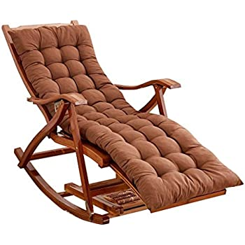 LHNLY Inclinable Rocking Chair pour Salon de Jardin Balcon extérieur |Chaise Relax Pliable pour Enfant Adulte avec Coussins Marron |Chaises Longues