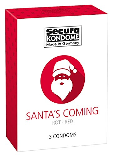 Santa´s Coming 3er Pack, rote Kondome mit Erdbeer Aroma / Condoms w. Strawberry, 52mm, mit Reservoir -