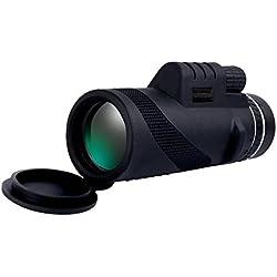JIANFCR Super Clear 40x60 Telescopio monocular con zoom óptico de doble foco, visión diurna, para pájaros/vida salvaje/caza/acampada/senderismo (impermeable) (Color : Negro)