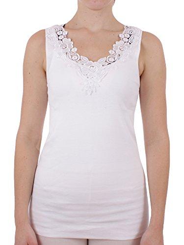 Damen Unterhemd mit Spitze Feinripp aus 100% Baumwolle (Unterhemd, Top, Oberteil) Nr. 329/228/1  Weiß