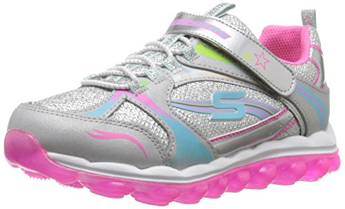 Skechers Kids Air Bubble Beatz Bungee and Strap School Sneaker (Little Kid/Big Kid), Silver/Pink/Multi, 3.5 M US Big Kid (Big School Kids Sneakers)