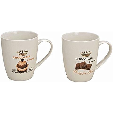 """Tazze, bicchieri Set di 2, ca, 250 ml, 10 cm altezza, Cioccolato ricarica attendano """"only for you""""; Con effetto aroma merotoner dell"""