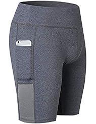 YONKINY Pantalones Cortos Running Mujer Shorts Leggings Respirable Elásticos Cómoda Al Aire Libre Pantalones Cortos de Yoga Ejercicio (Gris, XL)