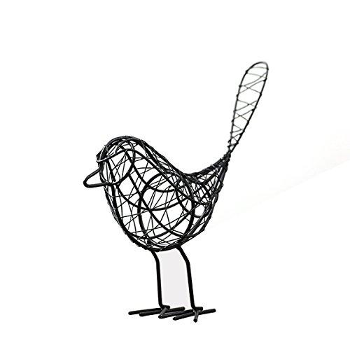 Ounona ferro adorabile uccello animale tessuto artigianale casa ufficio giardino decorazione Photograhy attrezzatura (nero)
