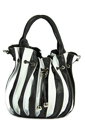 Belli 'Globe Bag ital. Nappaleder Shopper Handtasche Damentasche - Freie Farbwahl - 30x21x24 (B x H x T) (schwarz weiß)