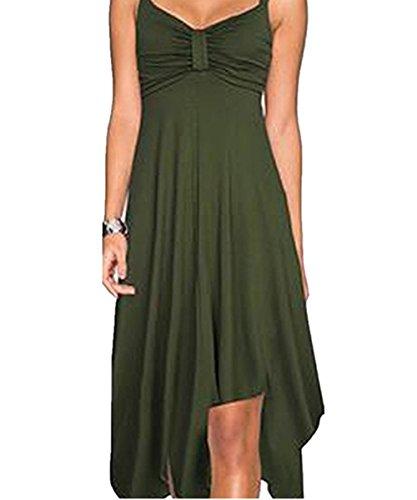 YOGLY Damen Damen V ausschnitt Sommer kleider Knielang Partykleider Ärmellos Strandkleid Armgrün